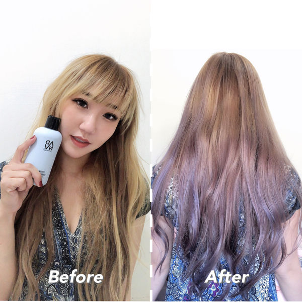 使用補色洗髮精的前後差異